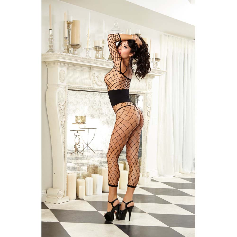Dreamgirl Fence Net Bodystocking with Built in Opaque Waist Corset One Size Black - View #4
