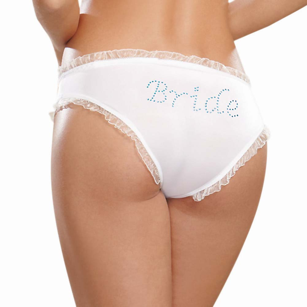 Dreamgirl Microfiber Cheeky Panty with Rhinestone Bride On Back Extra Large White - View #1