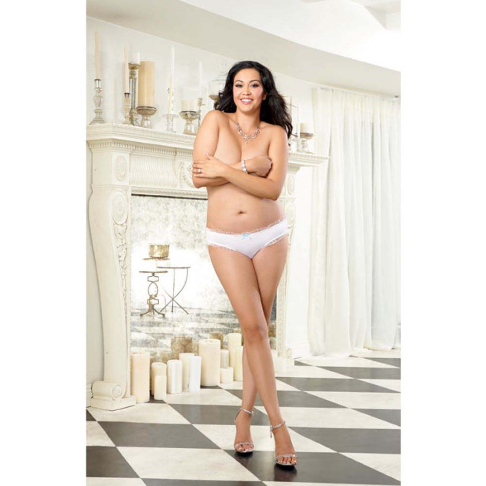 Dreamgirl Microfiber Cheeky Panty with Rhinestone Bride On Back Plus Size 1X/2X White - View #4