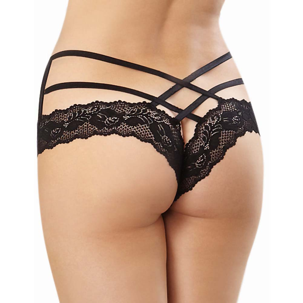 Dreamgirl Stretch Lace Band Tanga Panty with Criss Cross Strappy Waistband Small/Medium Black - View #2