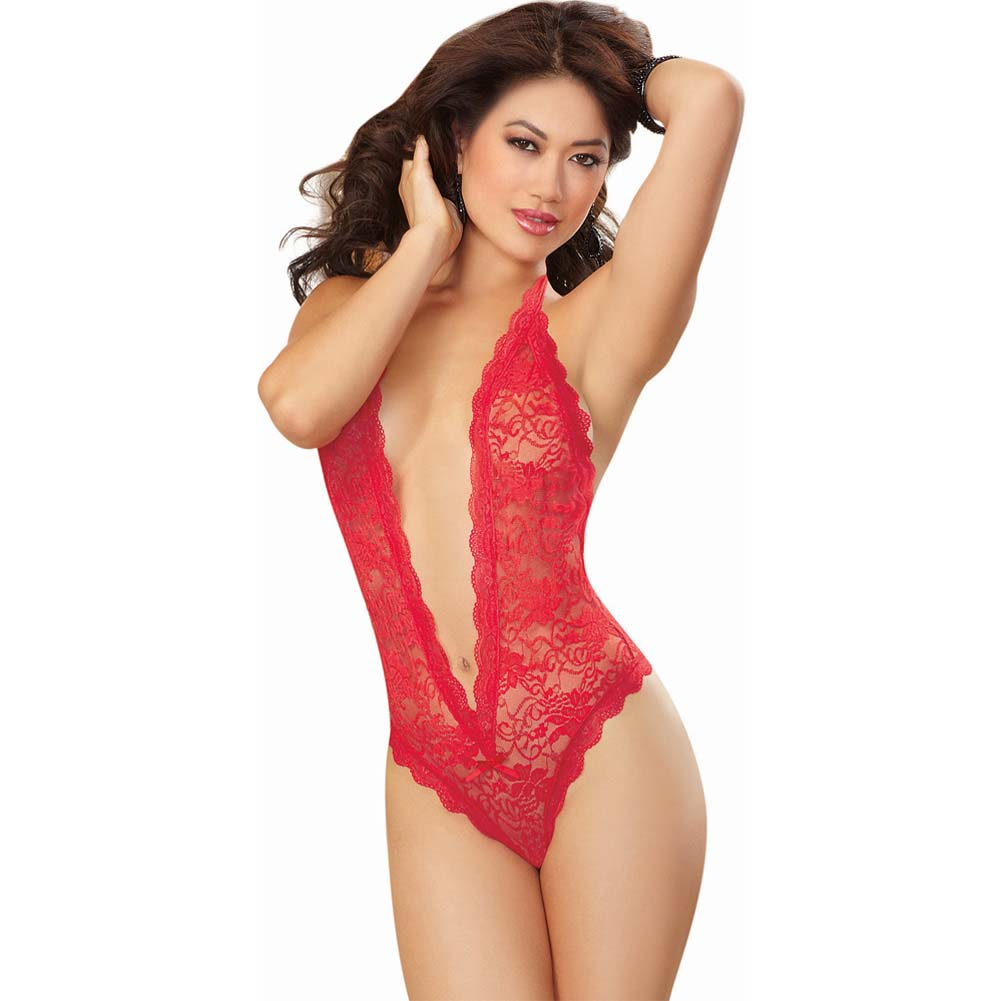 Dreamgirl Sexy Halter Tie Stretch Lace Teddy Plunging Neckline Heart Cut Out One Size Red - View #1