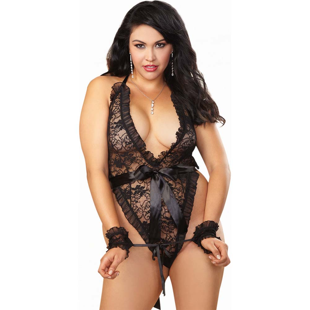 Dreamgirl Stretch Lace Halter TeddyThong Back Waist Tie Wrist Restraints Plus Size Black - View #1