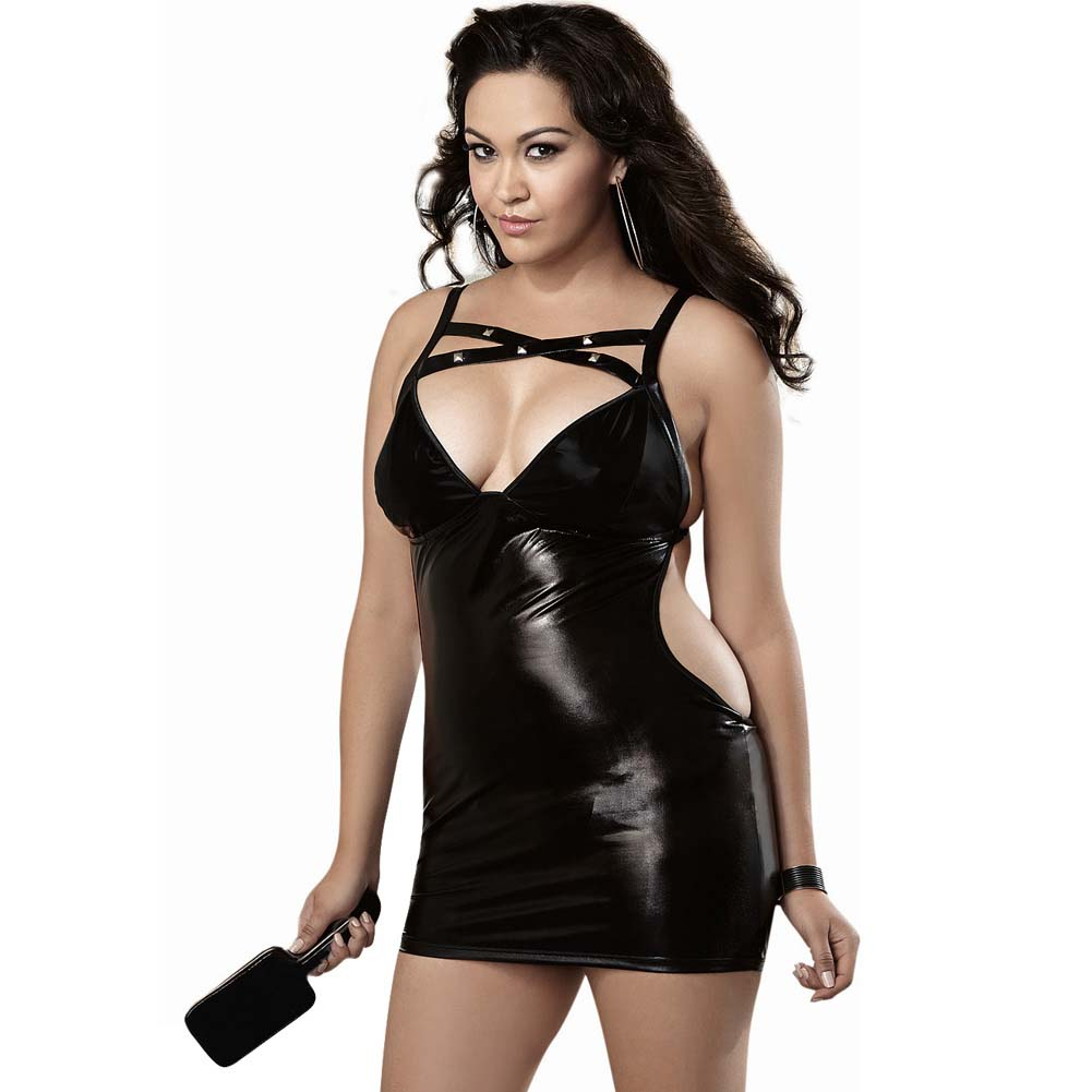 Fetish Stretch Vinyl Chemise Spanking Back G-String Paddle Queen Size Black - View #1