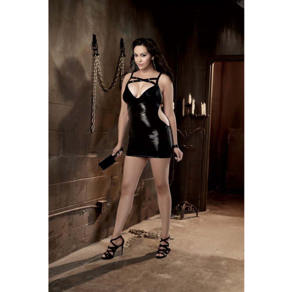 Fetish Stretch Vinyl Chemise Spanking Back G-String Paddle Queen Size Black - View #3