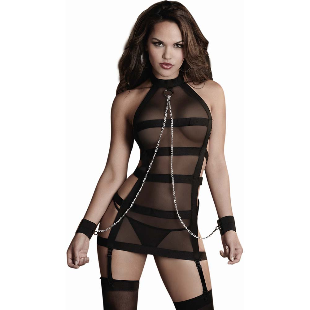 Dreamgirl Fetish Sheer Mesh Strappy Bandage Halter Garter Slip Chain Restraints One Size Black - View #1
