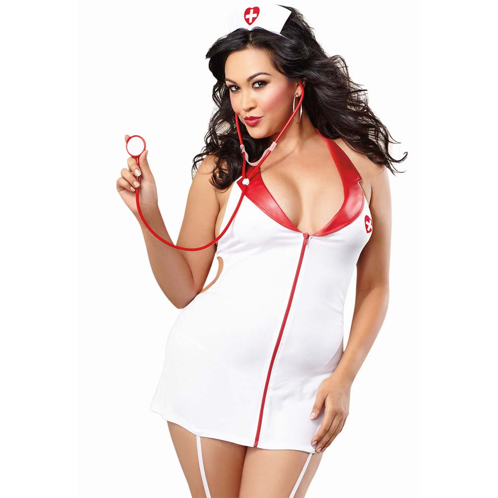 Dreamgirl Stretch Halter Garter Dress Front Zipper Cap Stethoscope Queen Size White - View #1
