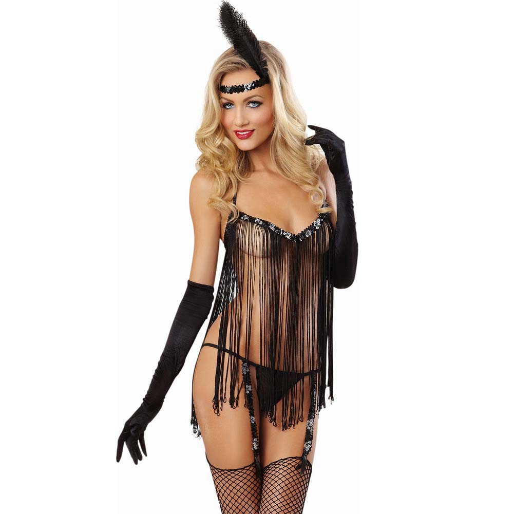 Dreamgirl Sexy Flirty Flapper Lingerie Costume Set with Garter G-String One Size Black - View #1