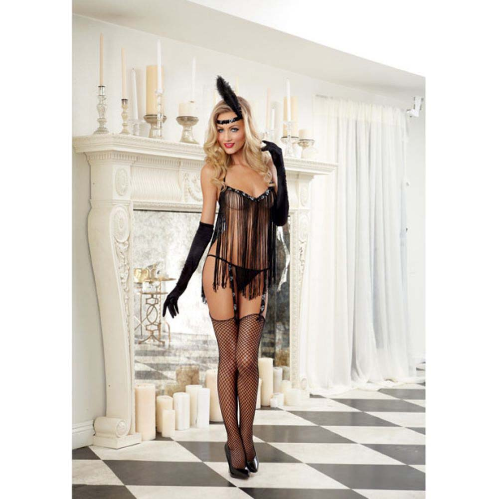 Dreamgirl Sexy Flirty Flapper Lingerie Costume Set with Garter G-String One Size Black - View #3