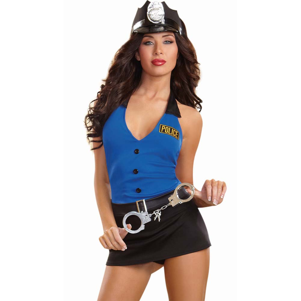 Dreamgirl Sexy Lieutenant Lusty Sexy Cop Lingerie Costume Set with Handcuffs One Size Black/Blue - View #1