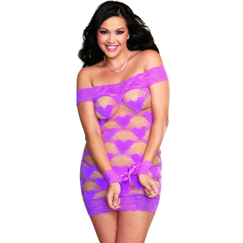 Dreamgirl Seamless Strappy Heart Chemise Wrist Restraints Ribbon Ties G-String Plus Size Iris - View #1