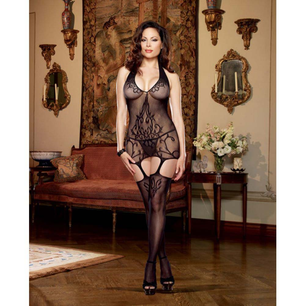 Dreamgirl Halter Garter Dress with Baroque Design and Stockings Queen Size Black - View #3