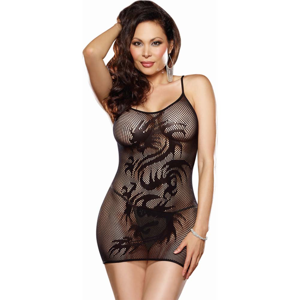 Dreamgirl Stretch Fishnet Chemise Dragon Tattoo Design and G-String Queen Size Black - View #1