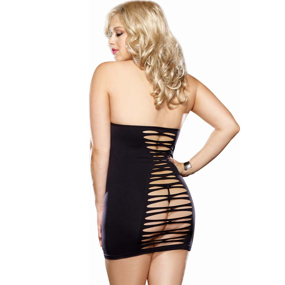 Dreamgirl Seamless Halter Dress with Adjustable Neck Ties and G-String Queen Size Black - View #2