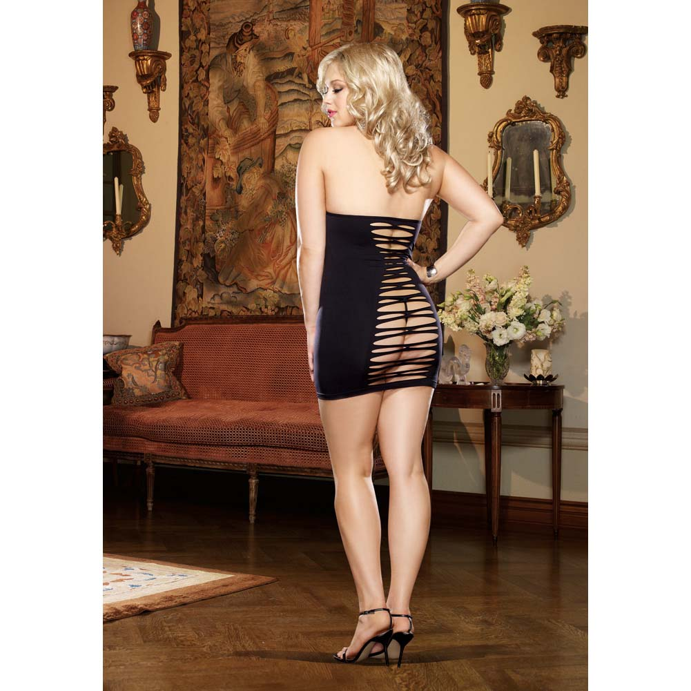 Dreamgirl Seamless Halter Dress with Adjustable Neck Ties and G-String Queen Size Black - View #4