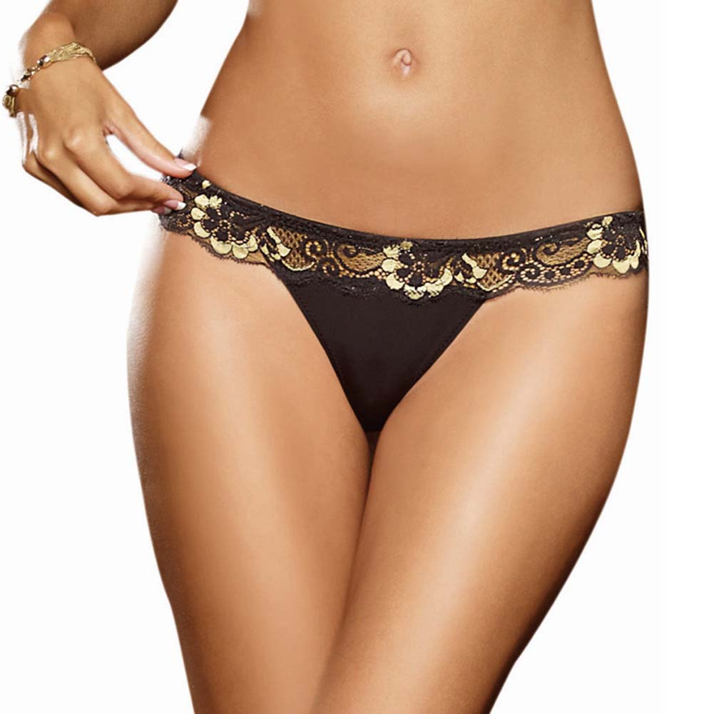 Dreamgirl Cross Dye Lace and Microfiber Thong Small Black/Gold - View #1