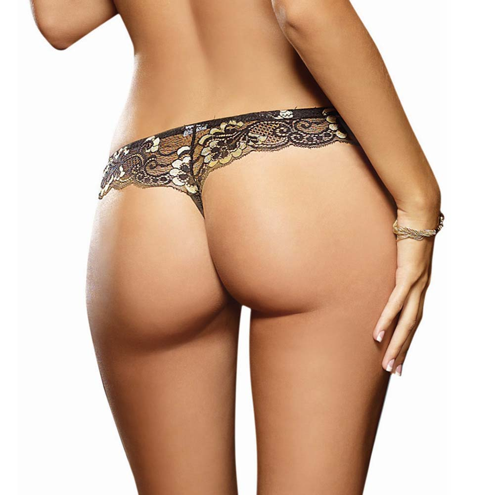 Dreamgirl Cross Dye Lace and Microfiber Thong Medium Black/Gold - View #2