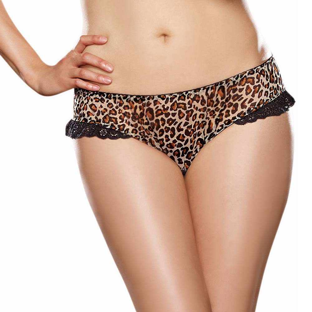 Dreamgirl Leopard Print Stretch Mesh with Spandex Open Heart Back Cheeky Panty 1X/2X Leopard - View #2