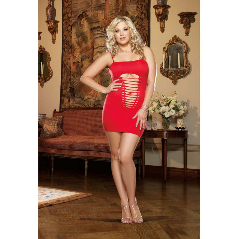 Dreamgirl Seamless Plunging Slash Chemise and Thong Queen Size Red - View #3