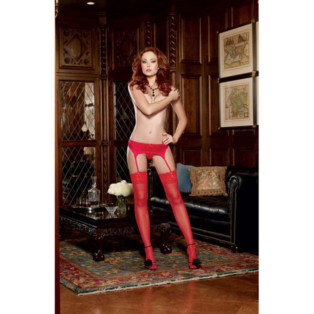 Dreamgirl Satin Front Garter Belt with Mesh Back and Garter Straps One Size Red - View #3
