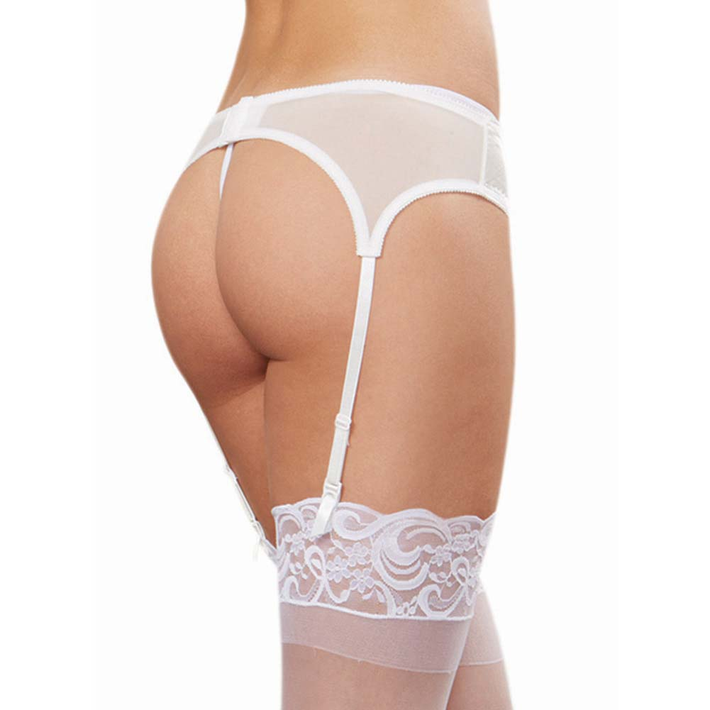 Dreamgirl Satin Front Garter Belt with Mesh Back Adjustable Garter Straps One Size White - View #2