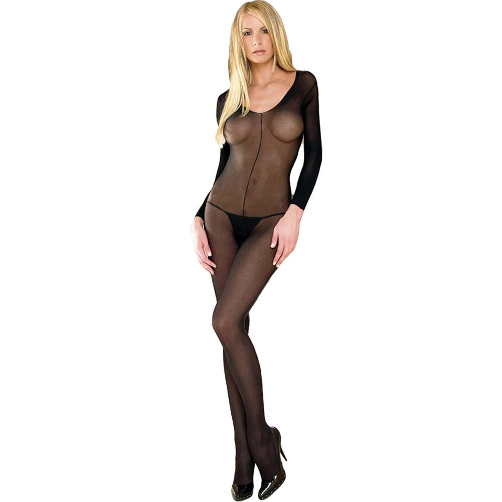 Leg Avenue Long Sleeved Bodystocking One Size Black - View #1