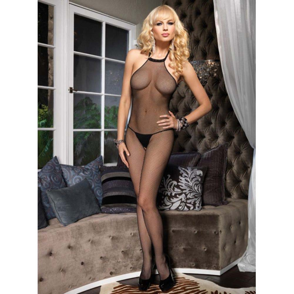 Dreamgirl Fishnet High Neck Bodystocking One Size Black - View #2
