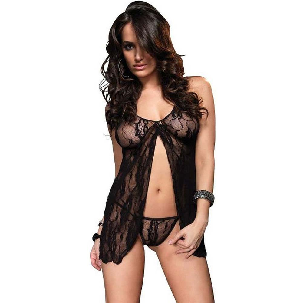 Leg Avenue Romantic Lace Babydoll and G-String One Size Black - View #1