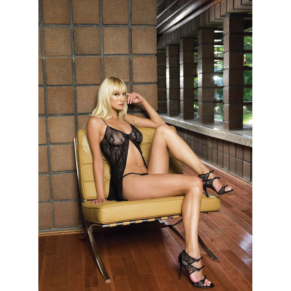 Leg Avenue Romantic Lace Babydoll and G-String One Size Black - View #3