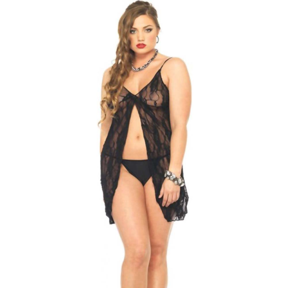 Leg Avenue Romantic Lace Babydoll with Matching G-String One Plus Size Naughty Black - View #1