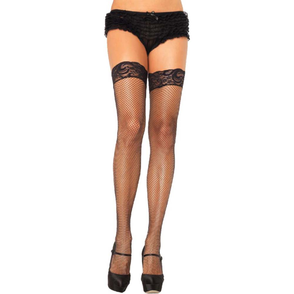 Leg Avenue Stay Up Fishnet Lace Top Thigh Highs Queen Size Black - View #1