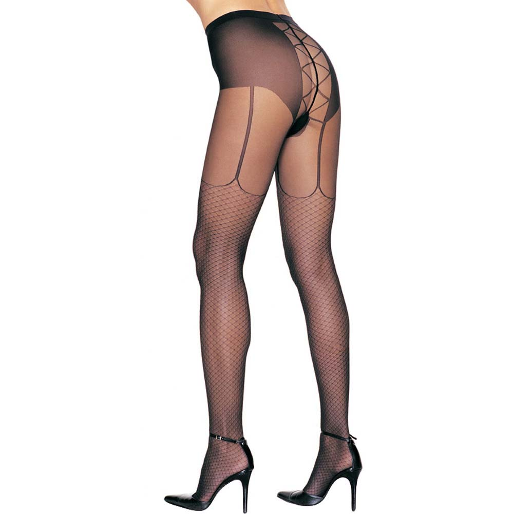 Leg Avenue Lycra Fishnet Lace Up Pantyhose One Size Black - View #1