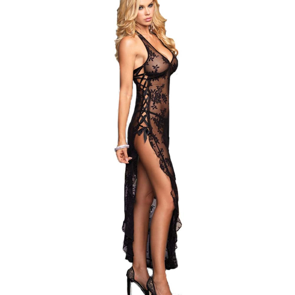 Leg Avenue Rose Lace Long Gown and G-String One Size Black - View #1