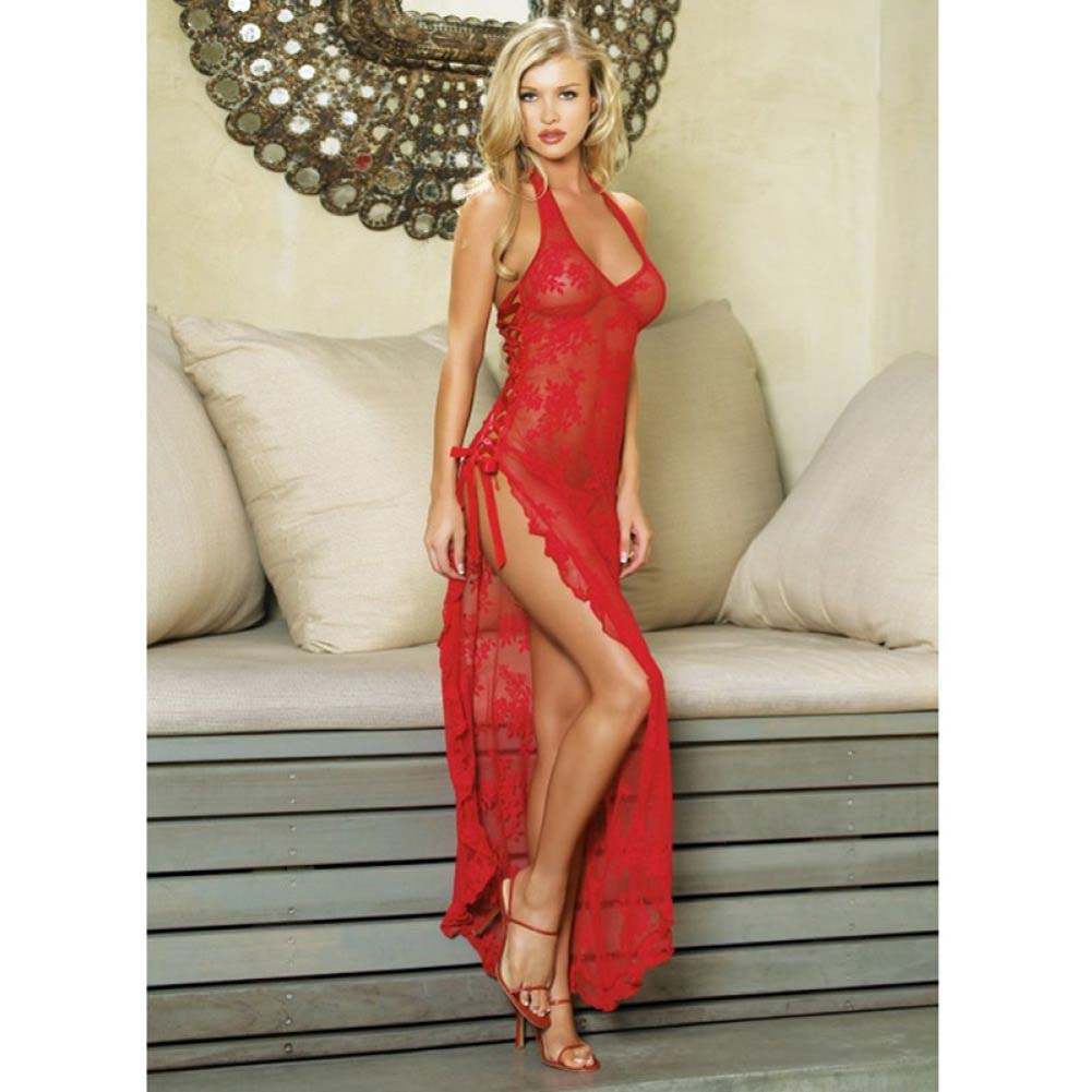 Leg Avenue Rose Lace High Slit Gown and G-String One Size Red - View #2