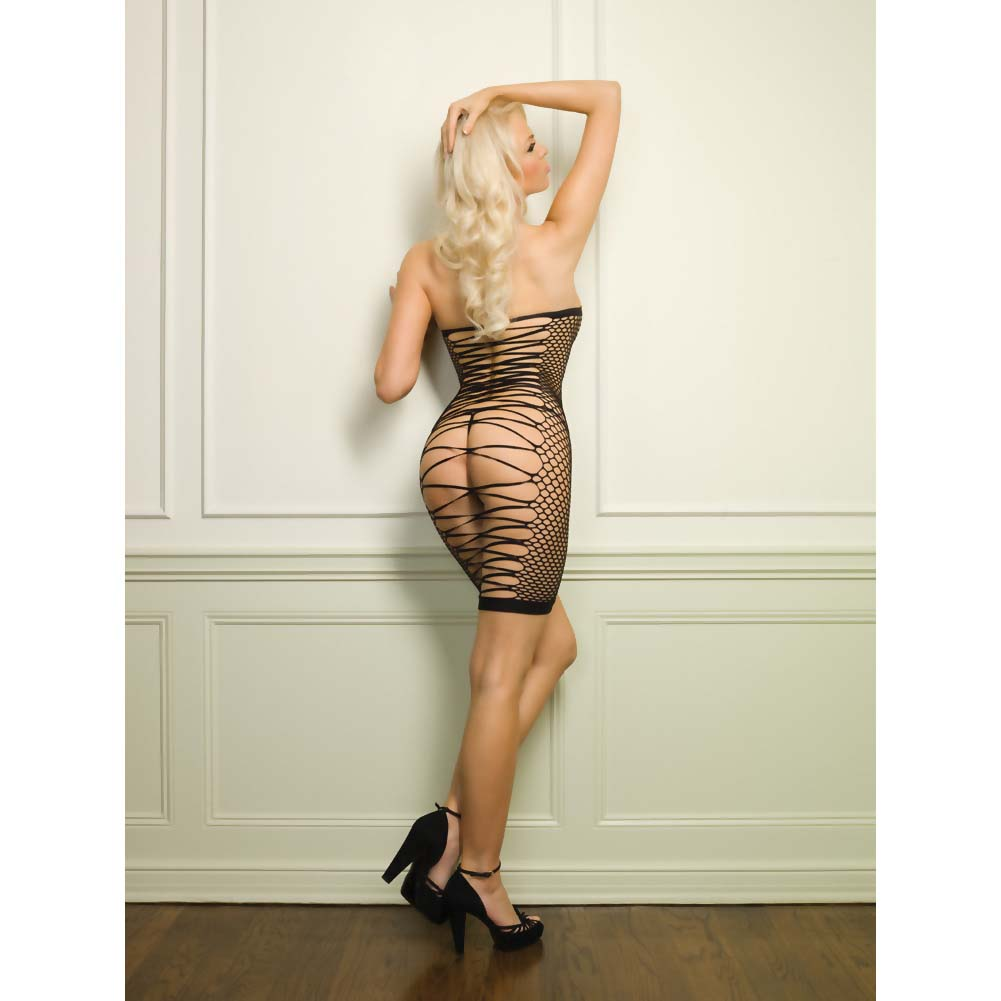 Leg Avenue Oval Net Strappy Back Dress One Size Black - View #3