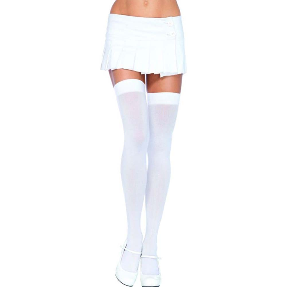 Leg Avenue Opaque Thigh High Stockings Queen Size White - View #1