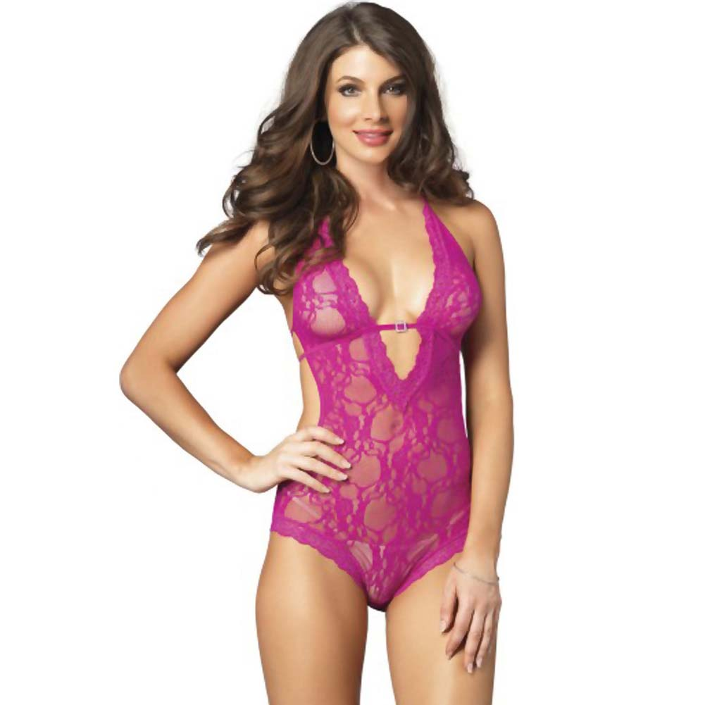 Leg Avenue Lace Deep-V Halter Teddy One Size Hot Pink - View #1