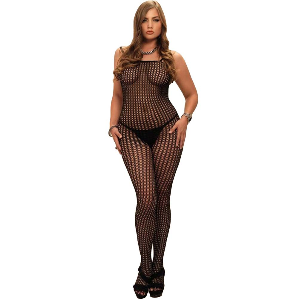 Leg Avenue Crochet Net Bodystocking Queen Size Black - View #1