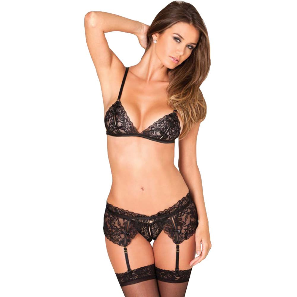 Rene Rofe 3 Piece Lace Garter Set Medium/Large Black - View #1
