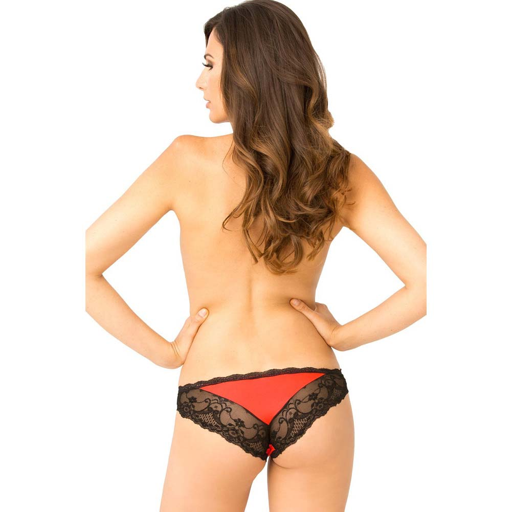 Rene Rofe Crotchless Lace V-Back Panty Medium/Large Red - View #4