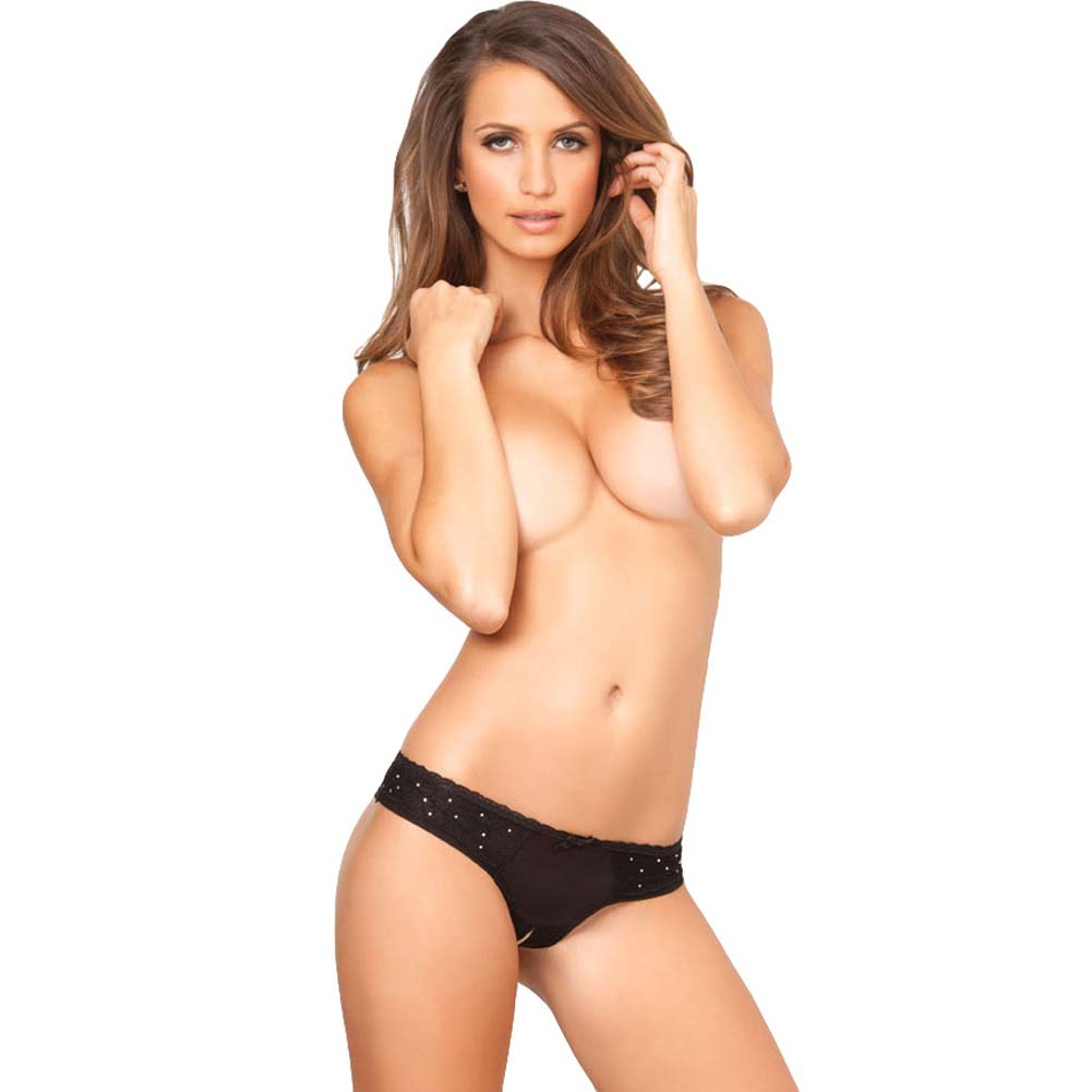 Rene Rofe Crotchless Diamond Lace Panty Medium/Large Black - View #3