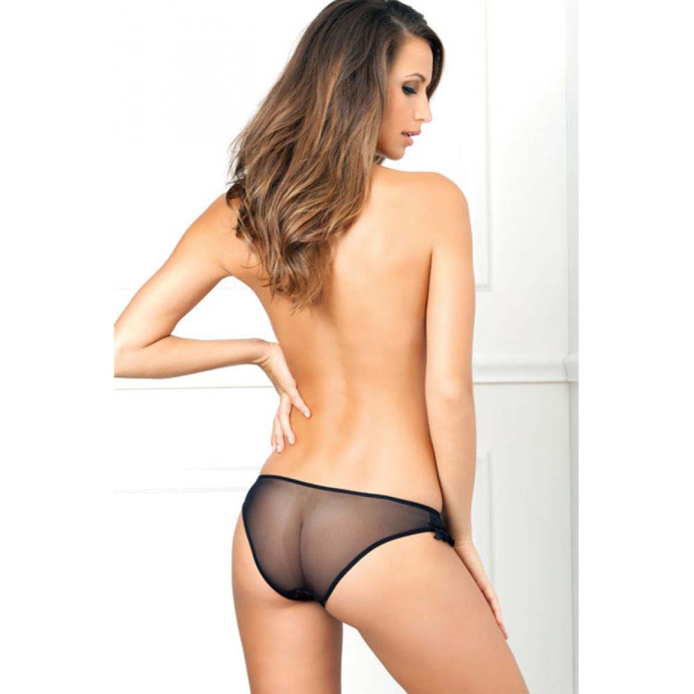 Rene Rofe Crotchless Floral Lace Ruffle Panty Small/Medium Black - View #4