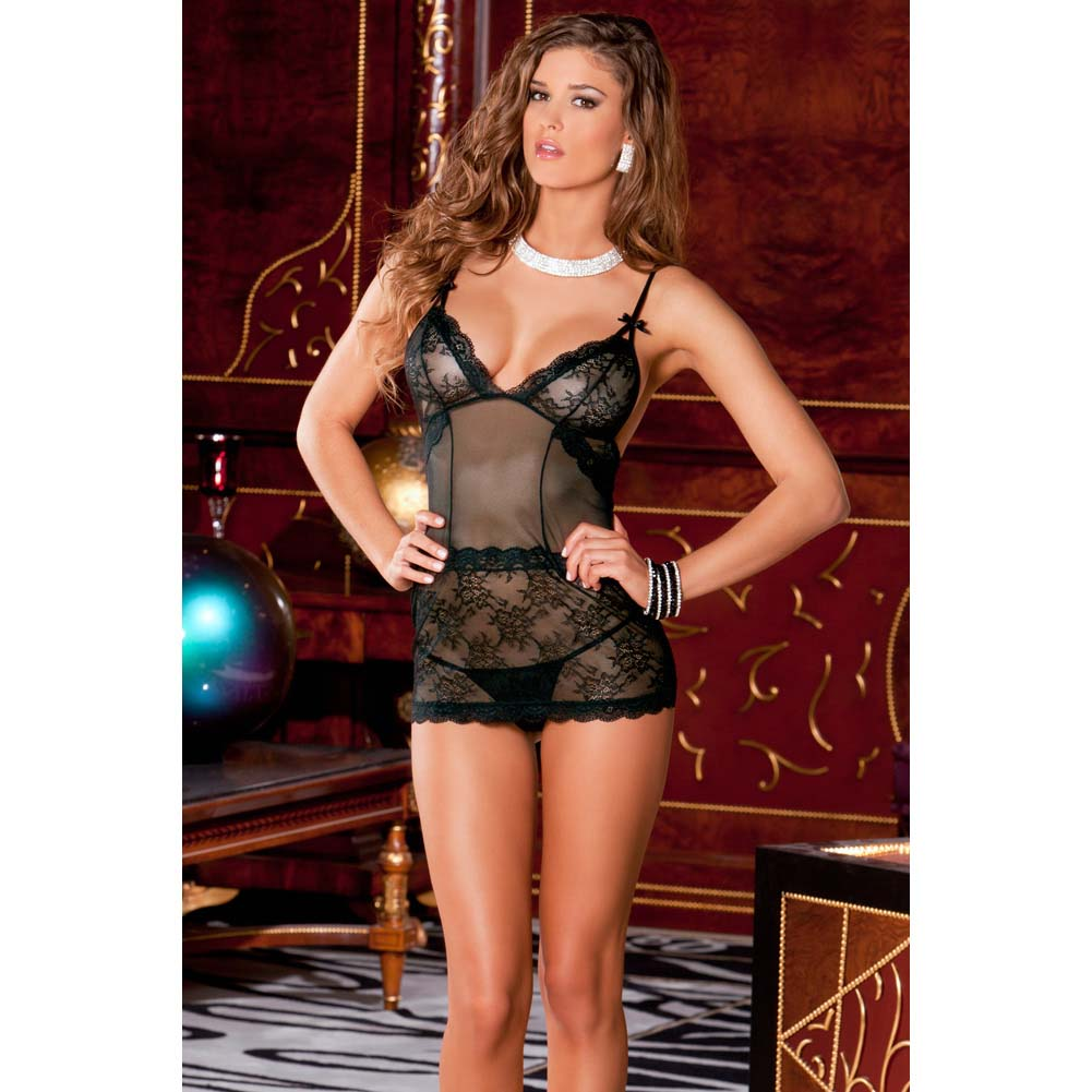 Rene Rofe 2 Piece Sophisticated Lace Chemise and G-String Set Medium/Large Black - View #3