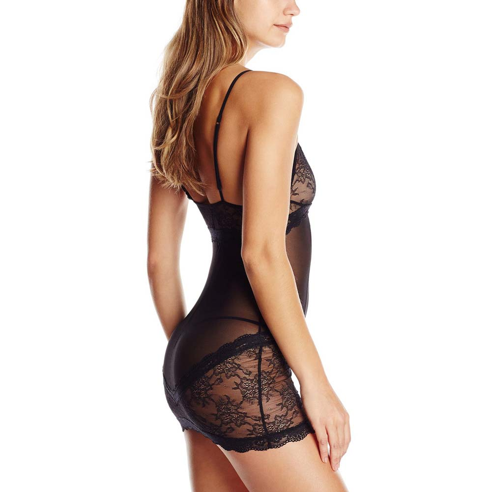 Rene Rofe 2 Piece Sophisticated Lace Chemise and G-String Set Small/Medium Black - View #2