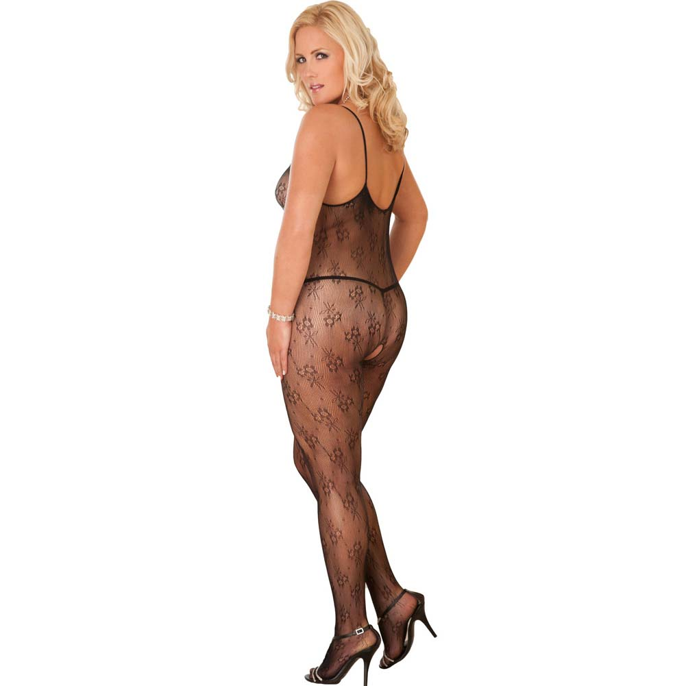 Rene Rofe Floral Lace Bodystocking Queen Size Black - View #1