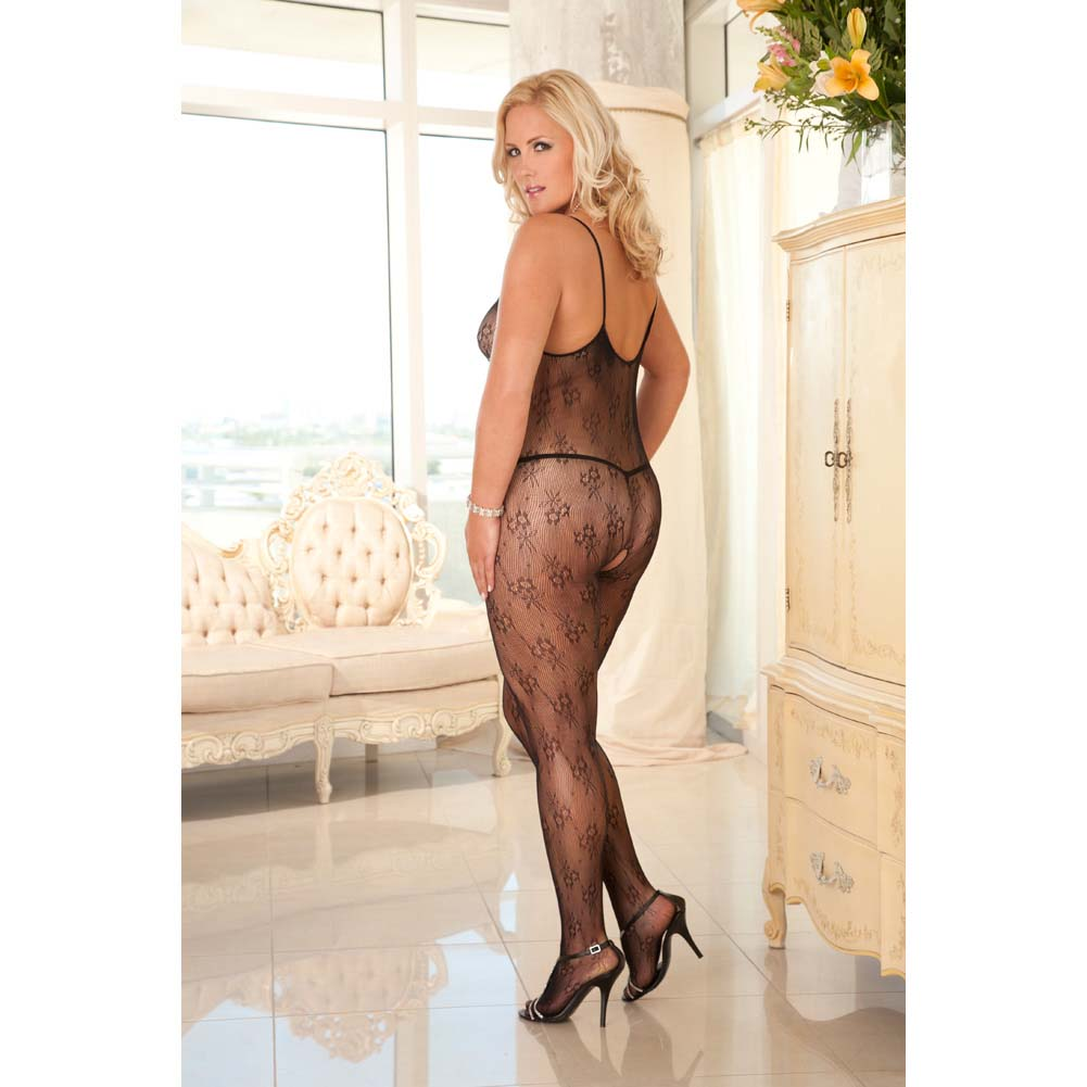 Rene Rofe Floral Lace Bodystocking Queen Size Black - View #3