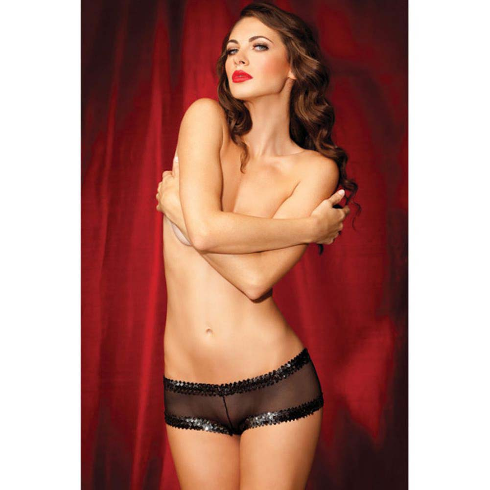 Rene Rofe Show Girl Fishnet Sequin Boyshort Panty Medium Black - View #3