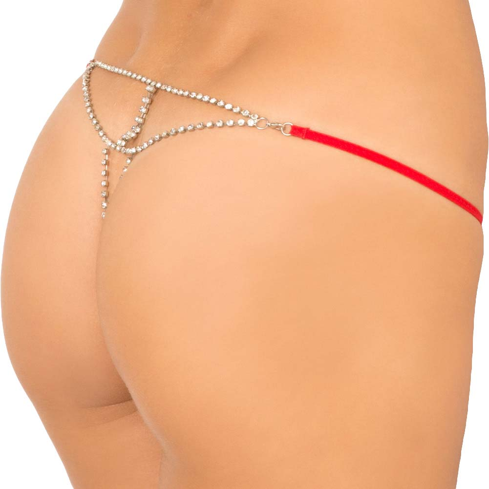Rene Rofe Show Girl Glamorous Rhinestone Back G-String Large Red - View #2
