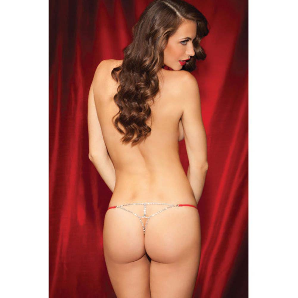 Rene Rofe Show Girl Glamorous Rhinestone Back G-String Large Red - View #4