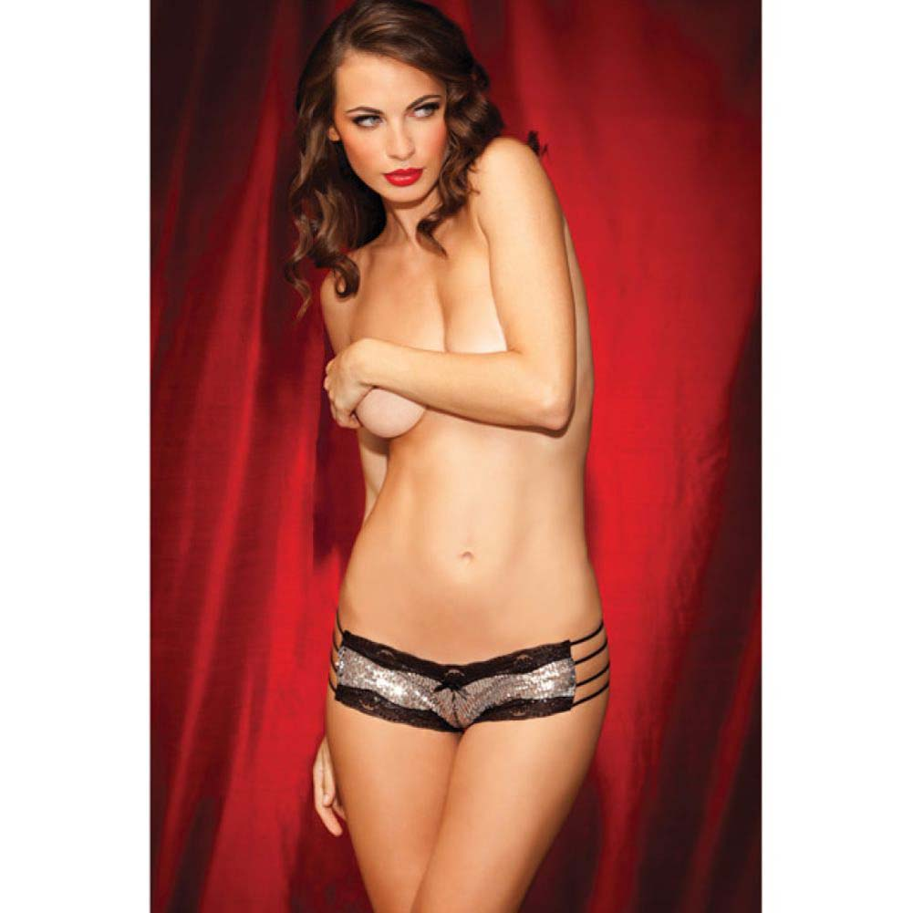 Rene Rofe Show Girl Sequin Front Strappy Lace Tanga Panty Medium Black - View #3