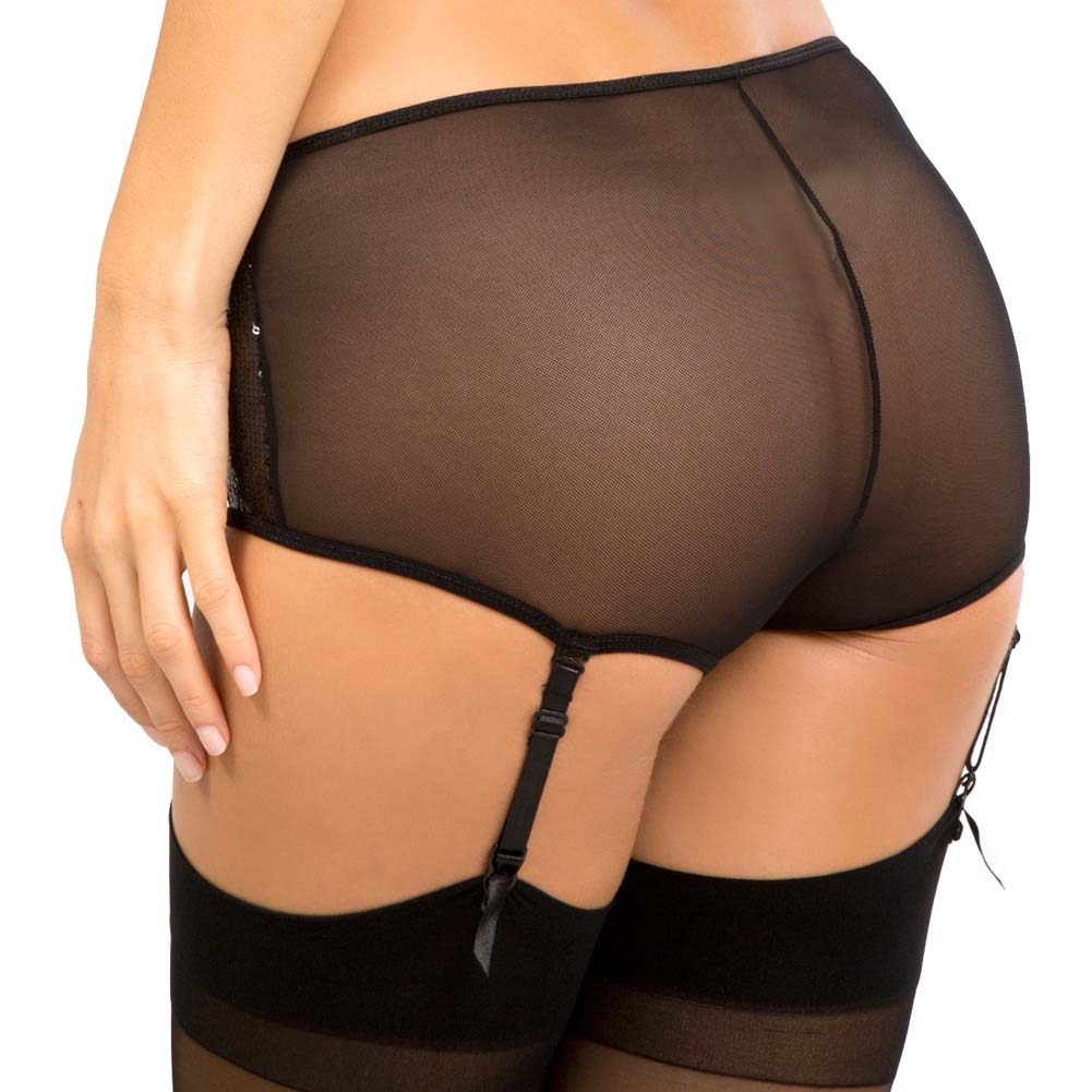 Rene Rofe Show Girl Classic High Waisted Sequin Garter Panty Large Black - View #2